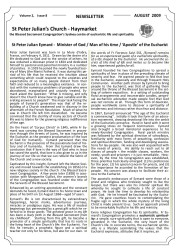 Newsletter, 2009 (Blessed Sacrament Congregation, St Peter Julian's Church, Haymarket), Sydney, 1-2.