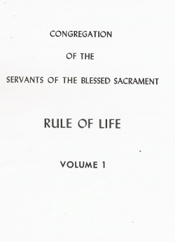 Cover of Rule of Life of the Servants of the Blessed Sacrament.