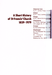 Cover of A short history of St Francis' Church, 1839-1979
